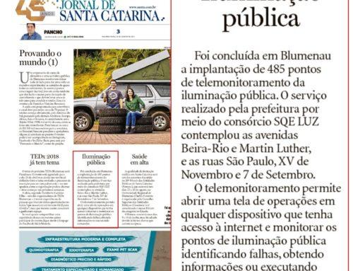 SQE LUZ é destaque no Jornal de Santa Catarina