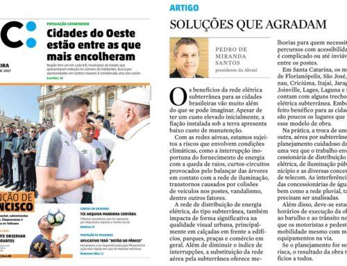 Pedro de Miranda Santos, Diretor do Consórcio SQE LUZ, tem artigo publicado no Diário Catarinense
