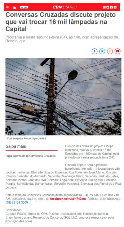 Floripa Iluminada é assunto na CBN Diário
