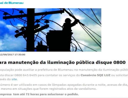 0800 para manutenção da iluminação pública é destaque na imprensa