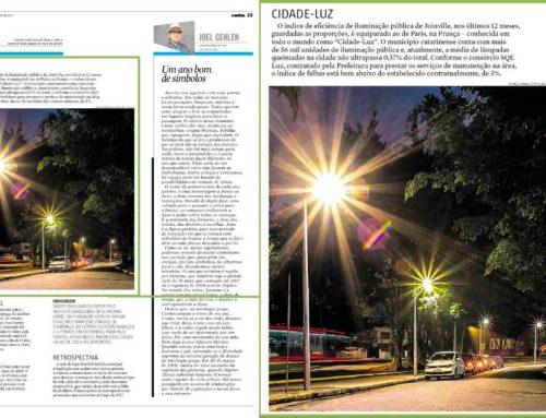 Eficiência na iluminação pública de Joinville é reconhecida pelo Jornal AN
