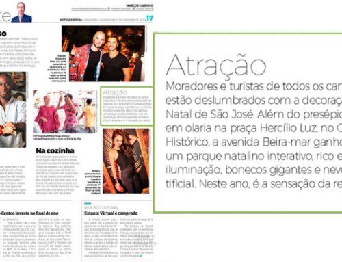 Iluminação pública de natal em São José é destaque no Jornal Notícias do Dia