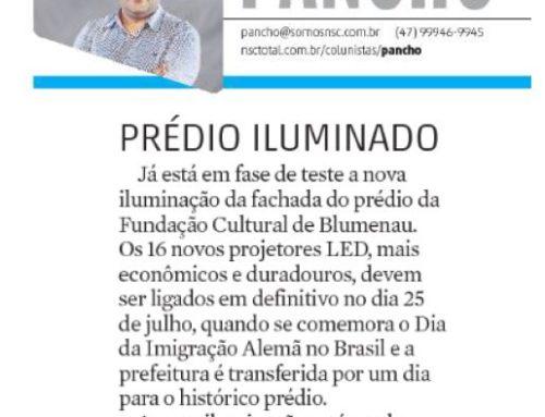 Pancho destaca no Jornal Santa a modernização da iluminação pública em Blumenau