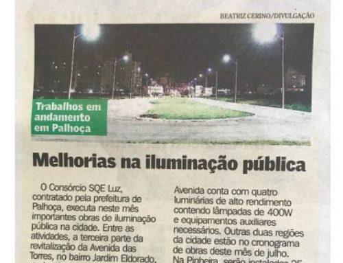 Hora de Santa Catarina fala sobre as obras na iluminação pública de Palhoça, executadas pela SQE LUZ