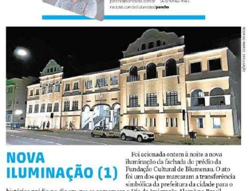 Santa, principal jornal do Vale do Itajaí, traz informações sobre obras na iluminação da Fundação Cultural de Blumenau
