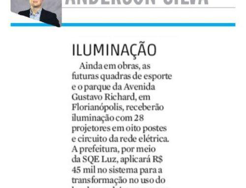 Futuras quadras de esporte, em Florianópolis, ganharão iluminação com 28 projetores e é destaque no Diário Catarinense