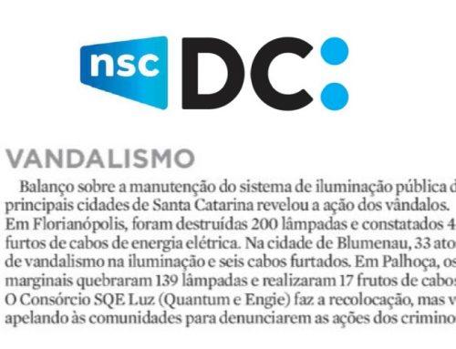 Os números alarmantes do vandalismo na iluminação pública em Santa Catarina foram destaque na coluna do Moacir Pereira, no Diário Catarinense.