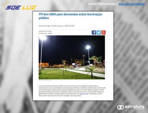 Jornal Palhocense destaca o serviço 0800 do Consórcio SQE LUZ.