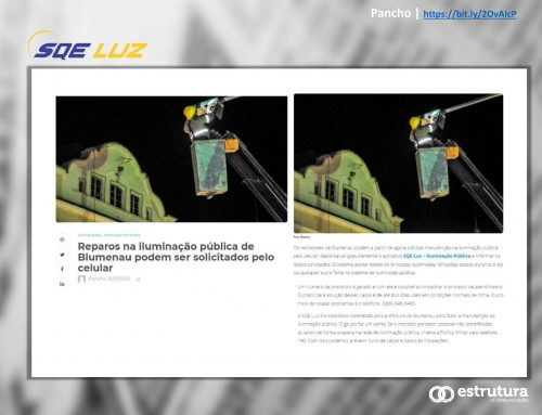 Pancho destaca serviço de app em Blumenau para solicitar reparos na iluminação pública.