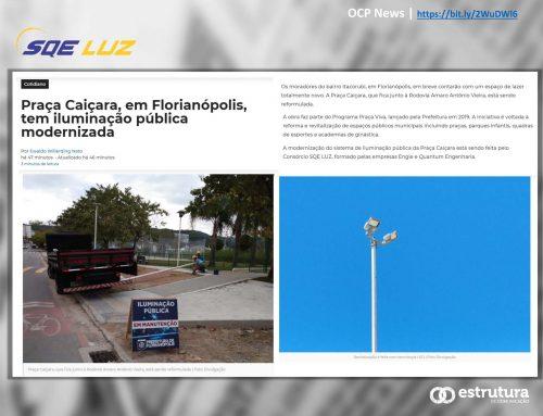 Nova iluminação pública da Praça Caiçara, em Florianópolis, é destaque no OCP News.